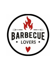 """Ronde stickerØ28mm""""Barbecue Lovers"""" op rol (1000st)"""